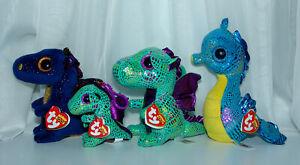 "TY Beanie Boos Dragons Lot 6"" Saffire, 6"" Cinder, 7"" Neptune 4"" Cinder Keychain"