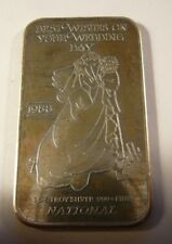 1988 National Mint Best Wishes Wedding Day Silver Art Bar