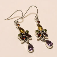 6.10 Gm 925 Solid Sterling Silver Natural Multi Cut Stone Earrings Gemstone i508