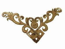 #6111 Gold Trim Fringe Flower,Leaves Sequin Embroidery Iron On Appliqué Patch