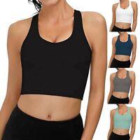 Women's Crop Top Sleeveless U Short Sport Tank Tops Ladies Gym Fitness Vest
