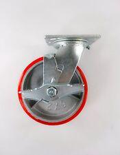 "5"" x 2"" Polyurethane On Cast Iron (Red) - Swivel with Brake"