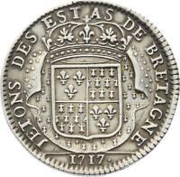 O3749 RARE Jeton Louis XV Etats Bretagne Dinan 1717 Argent Silver ->Faire offre