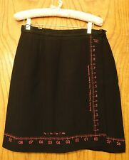 Moschino Cheap And Chic Unique Black Wrap Around Mini Skirt Ruler Print 44/10