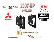 2007-UP CHRYSLER DODGE RAM JEEP MITSUBISHI DOUBLE DIN INSTALL DASH KIT, HARNESS