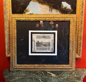 19th Century French Grand Tour Style Engraving in Large Gilded Frame