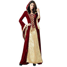Medieval Burgundy Renaissance Celtic Queen Gown Cosplay Fancy Dress Costume