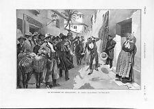 Espagne La Mi-Carème Andalousie la Pelete Jeu du Mannequin GRAVURE 1902