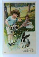 Easter Greetings Little Girls Flowers Rabbit Bunny Embossed Vintage Postcard