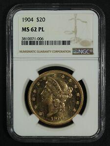 1904 Proof-Like $20 Twenty Dollar Liberty Head Gold Double Eagle NGC MS 62 PL
