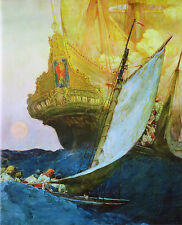 Attack on a Galleon, Pirate Art Print by Howard Pyle 1906 9x6 inch Reproduction