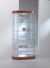 Vetrina Vetrinetta Espositore Display Showcase ovale vetro cristallo curvo pelle