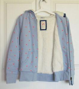 Mini Boden Girls Jacket Size 11-12 yr Hooded zippered shaggy sherpa fleece lined