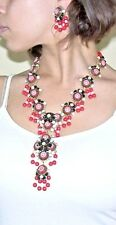 STANLEY HAGLER, NYC 'Moroccan Matrix' Jet Seed Bead Red Mosaic Necklace Earrings