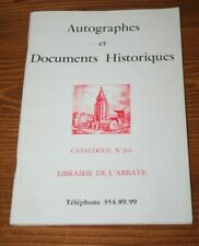 Autographes et documents historiques / librairie de l'Abbaye / catalogue 266