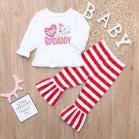 Valentine Baby Kids Girls Letter Heart Love Dress Tops Striped Pants Set Outfits