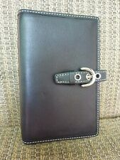 COACH travel leather photo album with snap closure > Black w/ silver hardware