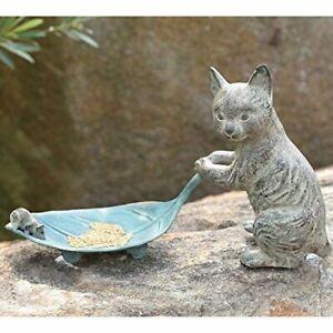 "Ebros Verdi Green Aluminum Tom Cat with Mouse Pulling Leaf Bird Feeder 15.5""L"