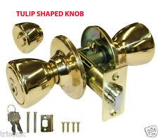 Polished Brass Keyed Entry Door Knob Nickel Handle Set With 3 Keys ANSI Grade 3