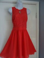 STUNNING LADIES   WAREHOUSE   SUMMER  CORAL LACE TEA     DRESS SIZE  14
