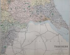1889 COUNTY MAP YORKSHIRE SOUTH EAST SHEET HULL BEVERLEY MARKET WEIGHTON SELBY