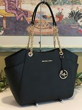 MICHAEL KORS JET SET TRAVEL LARGE CHAIN SHOULDER TOTE BLACK LEATHER $378