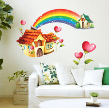 5700078 | Wall Stickers Cartoon Hut with Rainbow for Kids Room