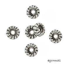6 Antiqued Bali Sterling Silver Rope Rondelle Spacer Beads 5mm #99104