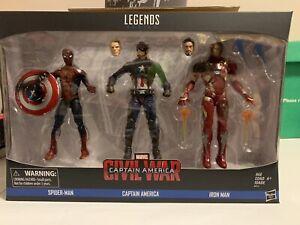 Marvel Legends Civil War Movie 3-Pack Captain America Iron Man & Spider-Man MISB