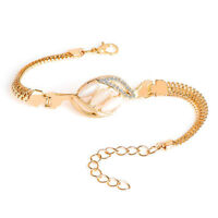 Fashion Elegant Gold Plated Chain Rhinestone Leaf Bracelet Women Bangle Jewelry