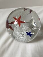 Hand Blown Glass Ball with Red White and Blue Stars and Bubbles
