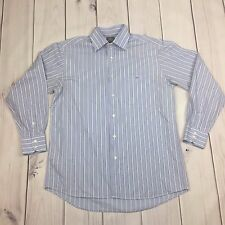 Lacoste Dress Shirt Striped Long Sleeve 100% Cotton Blue Men Size 42