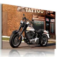HARLEY DAVIDSON BLACK WHITE MOTOR BIKE Large Wall Canvas Picture ART HD75 MATAGA