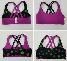 Ivivva Lululemon Vitality Reversible Sports Bra Girls Size 10 Pink / Black Stars