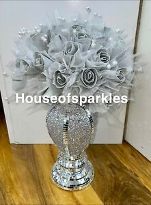 CRUSHED DIAMOND SILVER CRYSTAL  VASE WITH GREY ROSE FLOWERS, SPARKLY GIFT ✨