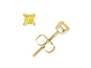 Real 1/4Ct Princess Yellow Diamond Basket Stud Earrings 14k Gold Prong Set SI2