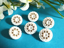 "779B Lovely Buttons "" Pearl D' Gold "" Set of 6 Buttons Period Vintage"