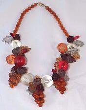 "Vintage Lucite Necklace - 20"" Necklace - Fall Colors - Grapes Apples & More"