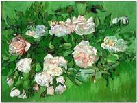 "Vincent Van Gogh *FRAMED* CANVAS ART Still life with pink roses 16""X 12"""
