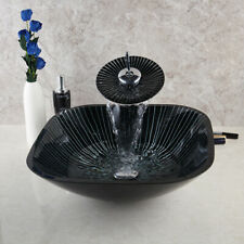 Square Black Stripe Hnadcraft Bathroom Glass Basin Sink Mixer Tap Drain Combo