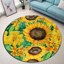 Round Carpet Watercolor Yellow Sunflower Floor Non-Slip Room Bath Door Mat Rugs