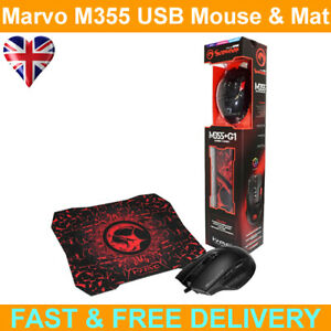 Marvo Scorpion M355 USB 7 Colour LED Black Programmable Gaming Mouse with Mat