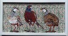 Original large partridge  pheasant bird picture painting William Morris fabric