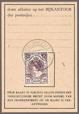 NIEDERLANDE 64 Einzelfrankatur auf Postbeleg = NEDERLAND NVPH 78 op postbuskaart