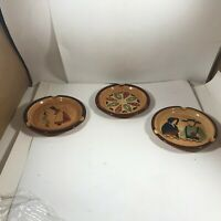 "Set of 3 PENNSBURY POTTERY Amish Hand Painted 5"" Ashtrays"