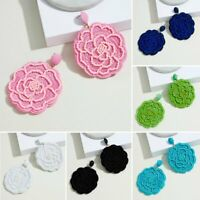 Round Rose Flower Dangle Earrings Handmade Beads Women Wedding Jewellery Gift