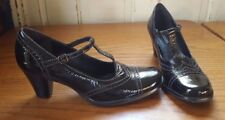 ECCO Black T-Strap Heels 41 (US 10 10.5) Leather Upper and Lining, Shiny Wingtip