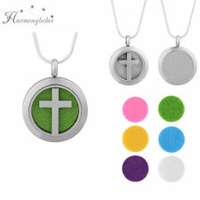 24inch Aromatherapy Essential Oil Necklace Fragrance Diffuser Pendant Locket Cross Purple (6 Pcs)