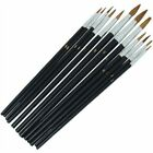 Artists Brush Set 12x Hobby Paint Oil Water Kit Thick Thin Small Large Detailed