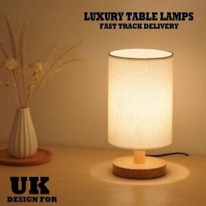 Bedroom LED Bedside Lamp Warm White Night Light Bulb Dimmable Wood Table Lamp UK